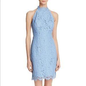 Dusty Blue High Neck Choker Lace Dress